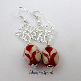 Boucles d'oreilles baroques en argent rouges et crèmes