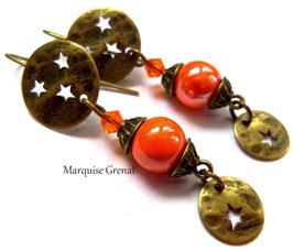 Boucles d'oreilles boho rock bronze orange