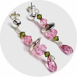 Clous d'oreilles argent et cristal rose et kaki, gouttes pendantes