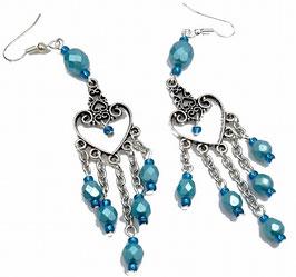 Boucles d'oreilles bleues argentées en verre et laiton, chandeliers coeurs, hippie chic