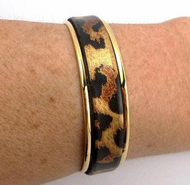 Bracelet Kilimandjaro en cuir léopard et  laiton doré