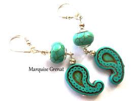 Boucles d'oreilles dormeuses en argent et turquoise pendants gouttes cachemires