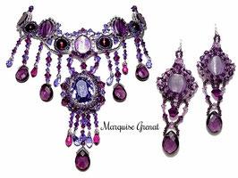 Parure brodée, collier et boucles d'oreilles, violette prune argent cristal, baroque