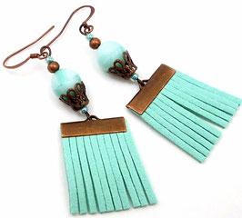 Boucles d'oreilles frangées boho turquoise clair cuivre en cuir