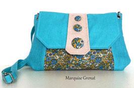 Pochette Tara lin enduit turquoise coton enduit fleuri