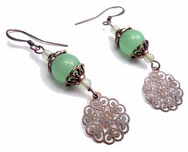 Boucles d'oreilles estampes hippie chic vert cuivre en jade