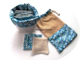 14 lingettes panier et filet de lavage tissus bleu fleuri lin blanc éponge bio