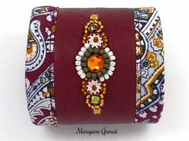 Bracelet manchette brodé cuir bordeaux ethno boho chic