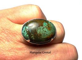 Bague ajustable en argent et pierre fine ovale en turquoise