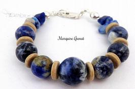 Bracelet bleu et sable en argent, céramique et sodalite, pierre de gemme, boho chic