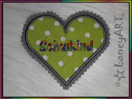 """Aufnäher """"Herz"""" - Schulkind Grün-Bunt"""