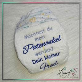 """Bestickte Windel - """"Möchtest du... Patenonkel & NAME (Kind)"""""""