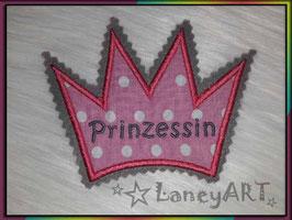 """Aufnäher """"Krone"""" - Prinzessin Rosa-Punkte"""