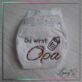"""Bestickte Windel - """"Opa & Babyflasche"""" (Wunschfarbe)"""