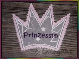 """Aufnäher """"Krone"""" - Prinzessin Sterne grau"""