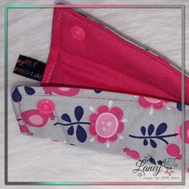 """Wende-Gurtschoner """"Blumen Pink-Grau / Pink"""""""