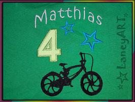 "Geburtstags-Shirt ""NAME & Zahl"" - Motiv: Fahrrad"