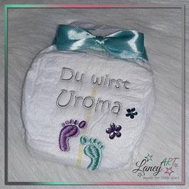"""Bestickte Windel """"Design KRISTEN"""" - """"Uroma & Füße"""" (Wunschfarbe)"""