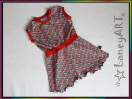 "Kleid Jersey ""Blumen Rot-Grau"""