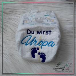 """Bestickte Windel - """"Uropa & Füße"""" (Wunschfarbe)"""