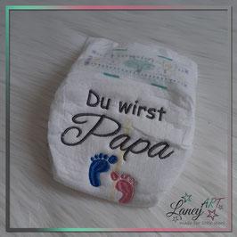 """Bestickte Windel - """"Papa & Füße"""""""