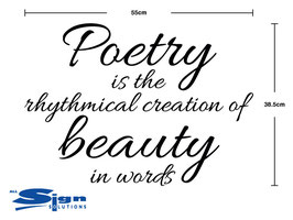 Poetry is the rhythmical creation of beauty in words (large)