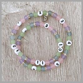 Stillkette rosa/violett mit Herzanhänger (Nr. 92)