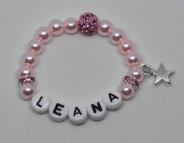 Perlenarmband mit Glitzersteinen und mit Wunschnamen