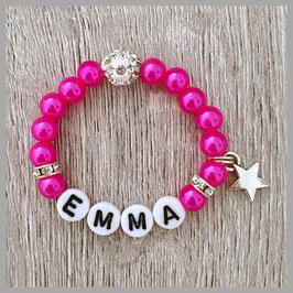 Neugeborenen-Perlenarmband rosa EMMA (Nr. 04)