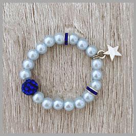 Neugeborenen-Perlenarmband hellblau (Nr. 002)