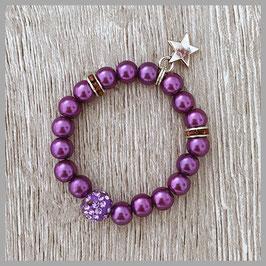 Neugeborenen-Perlenarmband violett (Nr. 01)
