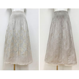 商品番号IS-9845-1W リバーシブルスカート 表カット花柄&バイヤスチェック柄(ベージュ系)