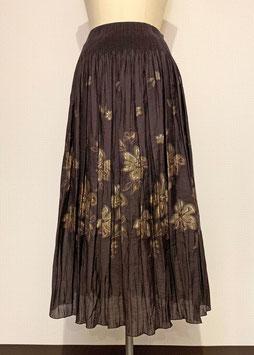 商品番号IS-5944-BR ぼかし花柄スカート(こげ茶)