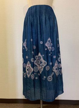 【大きめサイズ】商品番号IS-5839  丸にダイヤ柄スカート(ブルー)