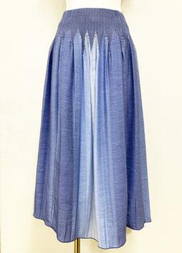 【新着】商品番号IS-9843-2W ストライプボカシカットスカート(ブルー系)