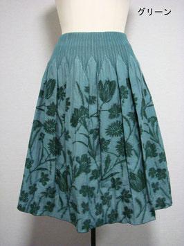 商品番号IS-8897-2W-2  花柄スカート(グリーン)
