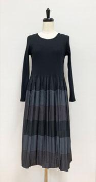 【新着】商品番号IS-9825-3W 3色ボーダーワンピース 黒