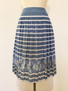 商品番号IS-8946-1W 透けボーダーバラ柄スカート