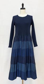 【新着】商品番号IS-9825-3W 3色ボーダーワンピース ブルー