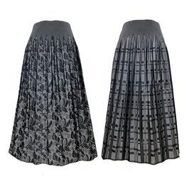 商品番号IS-9863-3W リバーシブルスカート リーフ柄&チェック柄(グレー)