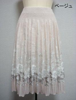 商品番号IS-9216-2W  花柄スカート(ベージュ)