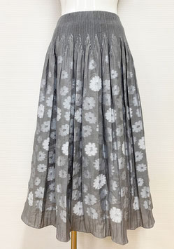 商品番号IS-9839-2W 花柄カットスカート(グレー)