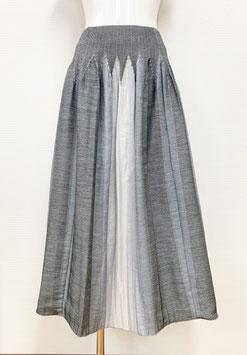 【新着】商品番号IS-9843-2W ストライプボカシカットスカート(ミックスグレー系)