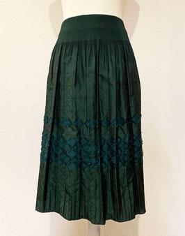 商品番号IS-9416-3W  バイヤスブロック表カットスカート(グリーン)