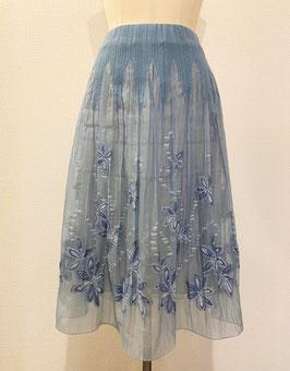 商品番号IS-6360 ラメ入りドットつる花柄スカート(ライトブルー)