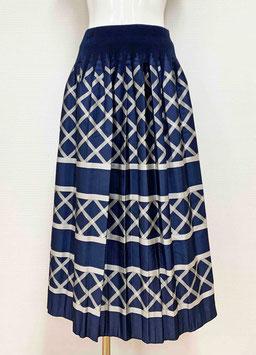 【SALE】商品番号IS-9668-6US-S  バイヤス格子柄スカート(紺)