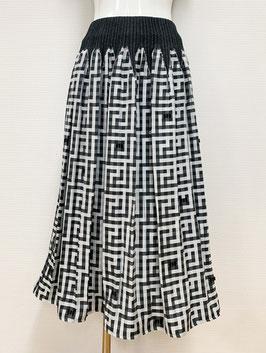 商品番号IS-9871-1W ドット入り表カットギンガムスカート(黒)