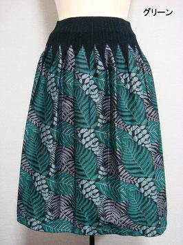 商品番号IS-9053-1W 2色出し葉柄スカート(グリーン)