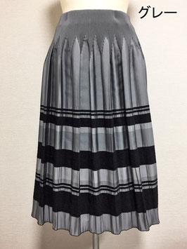 商品番号IS-9511-3W モール入りボーダースカート(グレー)
