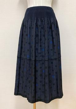 商品番号IS-9895-3WF 1段フリル水玉柄スカート(紺)